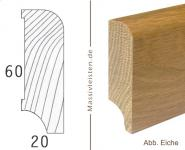 Sockelleiste 60x20 mm mit Rundung Radius 10 mm Massivleiste weiß lackiert
