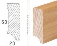 Sockelleiste 60x20 mm mit Fase 3 mm Massivleiste weiß lackiert