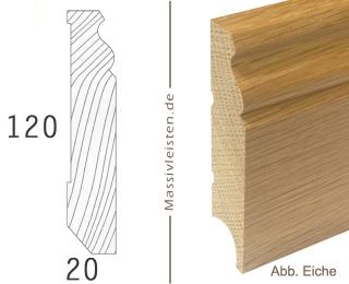 Sockelleiste 120x20 mm mit Profil, Berliner Profil