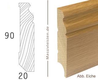 Sockelleiste 90x20 mm mit Profil, Berliner Profil