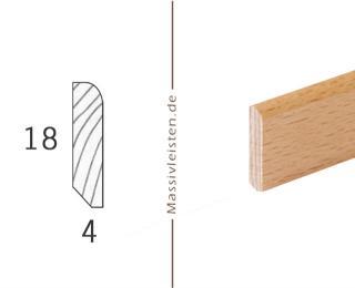 Sockelleiste 18x4 mm mit Rundung Radius 6 mm