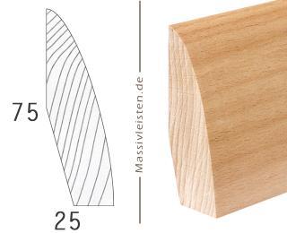 Designer-Profil 75x25 mm mit Rundung Eiche | geölt