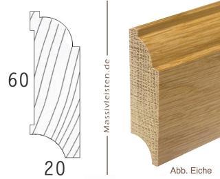 Sockelleiste 60x20 mm mit Profil, Eisenacher Profil Eiche | lackiert