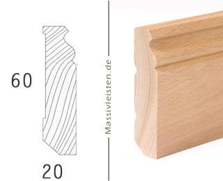 Sockelleiste 60x20 mm mit Profil, Berliner Profil