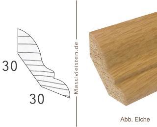 Hohlkehlleiste 30x30 mm mit Profil Eiche | natur (unbehandelt)