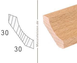 Hohlkehlleiste 30x30 mm mit Schrägen