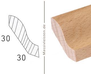 Hohlkehlleiste 30x30 mm mit Profil Massivleiste weiß lackiert