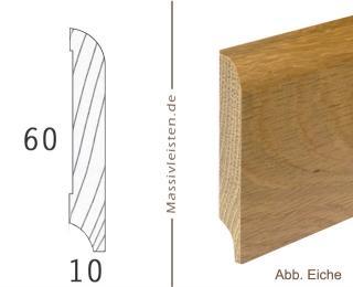 Sockelleiste 60x10 mm mit Rundung Radius 10 mm
