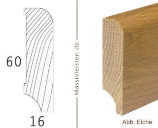 Sockelleiste 60x16 mm mit Rundung Radius 10 mm Esche | geölt