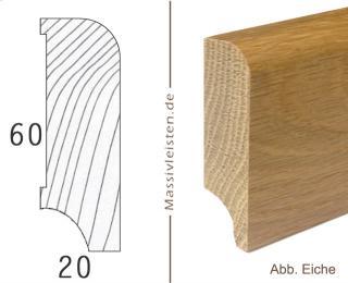 Sockelleiste 60x20 mm mit Rundung Radius 10 mm Eiche | lackiert