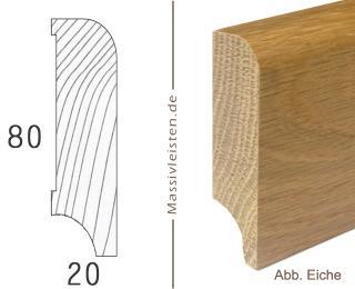 Sockelleiste 80x20 mm mit Rundung Radius 10 mm Esche | natur (unbehandelt)