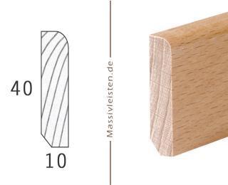 Sockelleiste 40x10 mm mit Rundung Radius 6 mm Eiche | lackiert