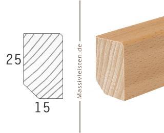 Sockelleiste 25x15 mm mit Fase 2 mm