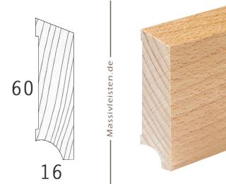 Sockelleiste 60x16 mm mit Schräge