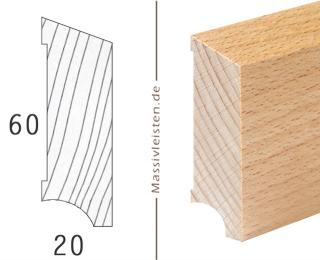 Sockelleiste 60x20 mm mit Schräge