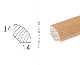 Viertelstab 14x14 mm mit Rundung Eiche | natur (unbehandelt)