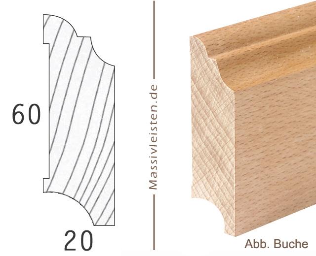 onlineshop sockelleiste 60x20 mm mit profil hamburger profil massivleisten. Black Bedroom Furniture Sets. Home Design Ideas