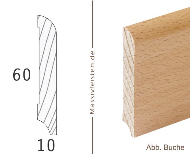 onlineshop sockelleiste 60x10 mm mit rundung radius 10 mm massivleisten. Black Bedroom Furniture Sets. Home Design Ideas