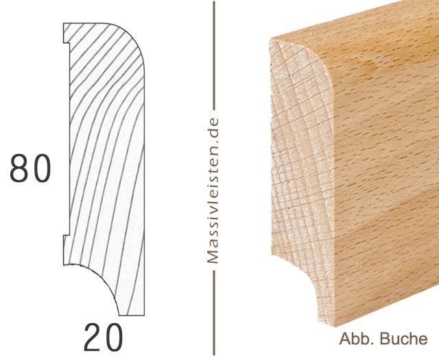 onlineshop sockelleiste 80x20 mm mit rundung radius 10 mm eiche ge lt. Black Bedroom Furniture Sets. Home Design Ideas